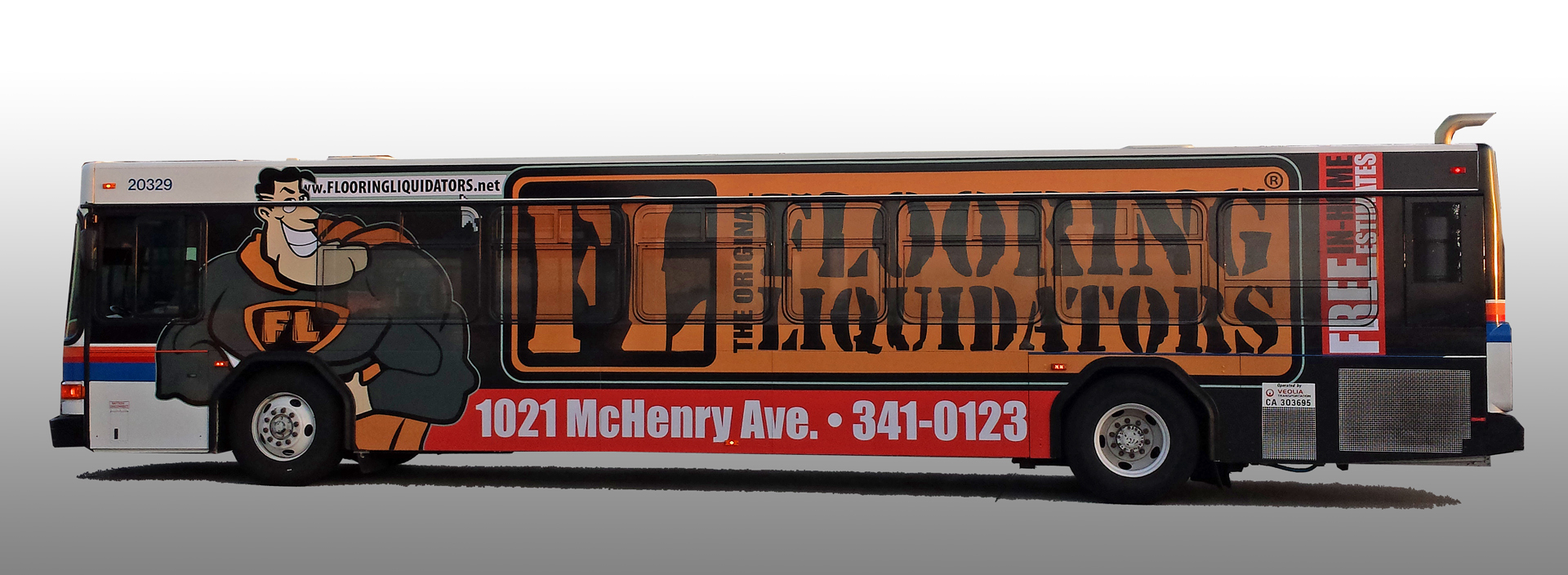 Full Side Bus Wrap For Flooring Liquidators
