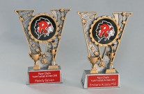 Trophy with custom school mascot plate and engraved plate
