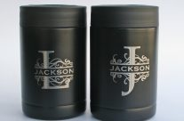 Laser engraved black stainless steel can holders