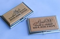 Laser engraved business card holder