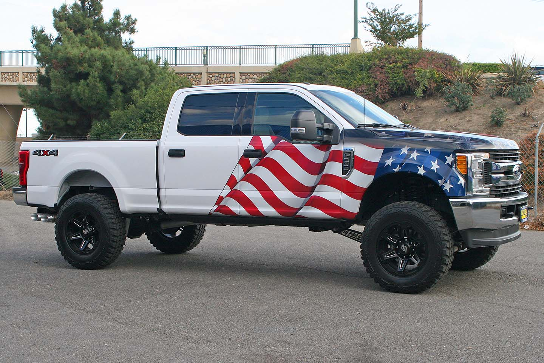 American Flag Eagle Truck Wrap