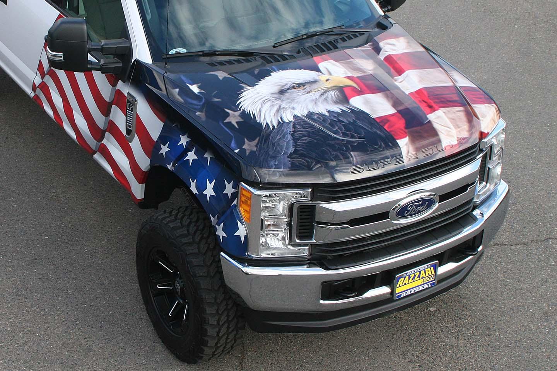 American Flag Amp Eagle Truck Wrap Visual Horizons Custom